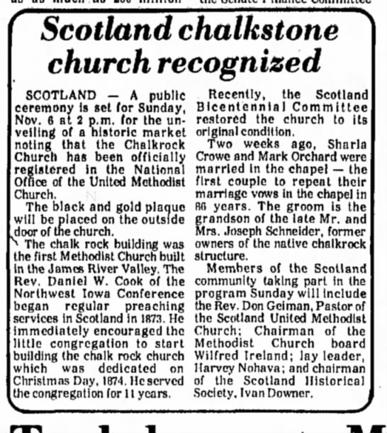The Daily Republic, Mitchell, SD 5 Nov 1977 Pg 6 - Scotland chalkstone church recognized SCOTLAND...