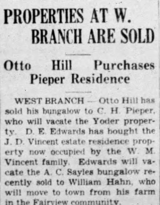 - PROPERTIES AT W. BRANCH ARE SOLD Otto Hill...
