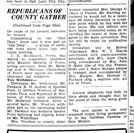 O. DeVere Wootton - Republicans Gather, Provo Herald, 6 May 1938 - was born in Salt Lake City City, REPUBLICANS OF...