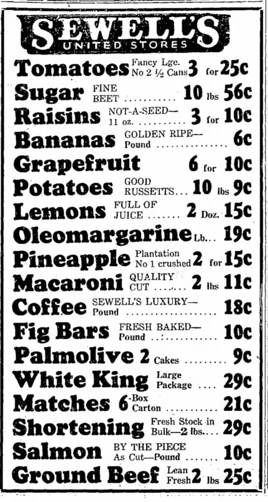 Love these 1935 prices! - Tomatoes 3 for 25c FINE BEET NOT-A-SEED— 11 oz...