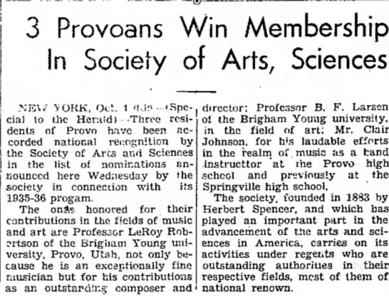 The Daily Herald (Provo, Utah) 4 October 1935  Page 1 - | | ®3 Provoans Win Membership In Society of...