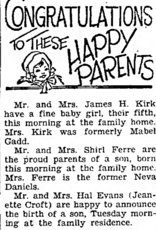 10 July 1935 - (QNGRATULAls Mr. and Mrs. James H. Kirk have a...
