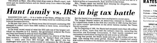 Hunt family vs. IRS - The attack on Kerr, who often tried drug cases...