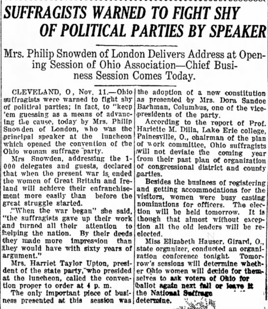 - SUFFRAGISTS WARNED TO FIGHT SHY OF POLITICAL...