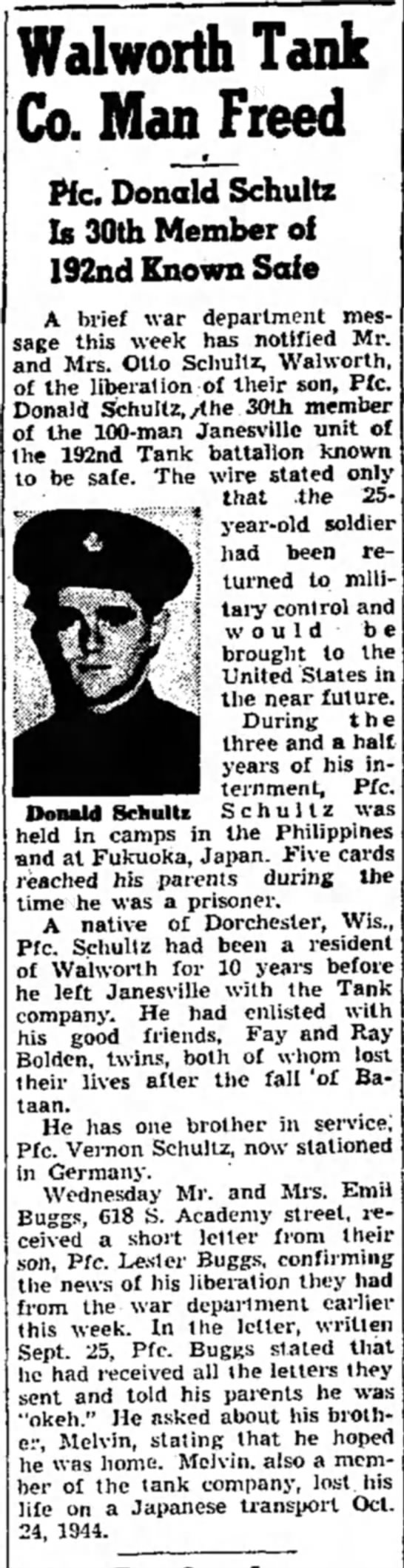 SchultzD1 - Walworth Tank Co. Man Freed • We. Donald...