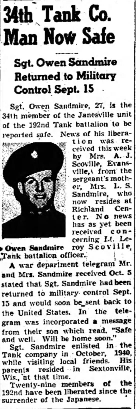 Sandmire1 - Owen Sandmire 34th Tank Co. Man Now Safe Sgt....