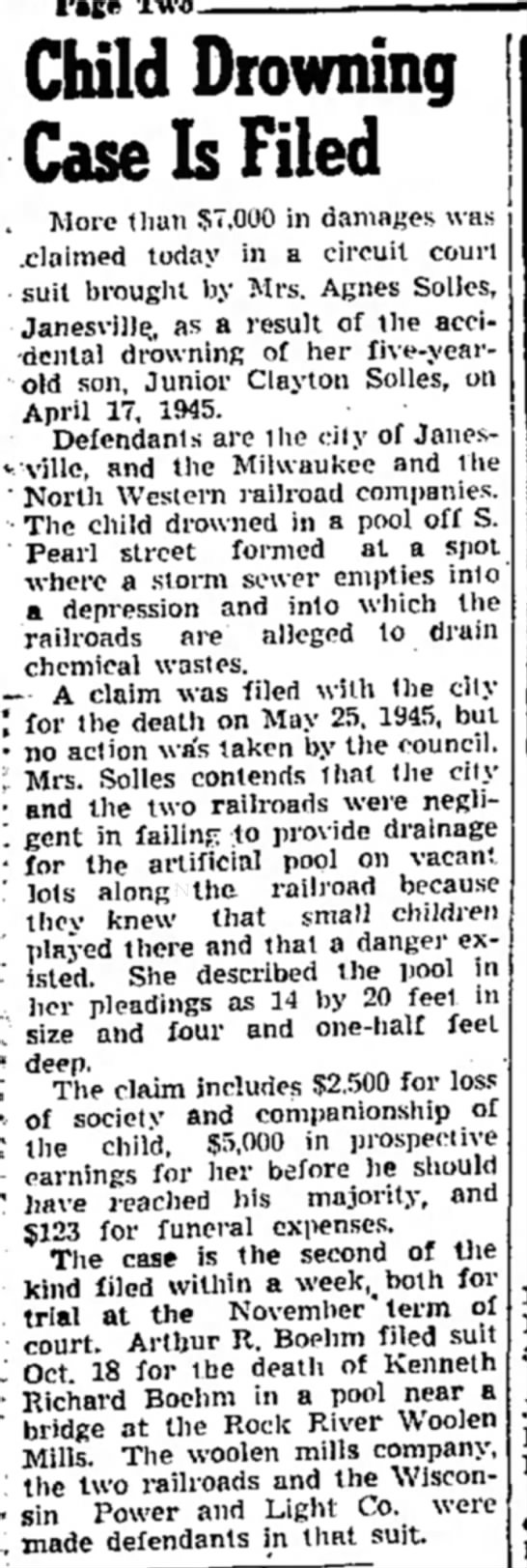 Junior Clayton Solles drowning