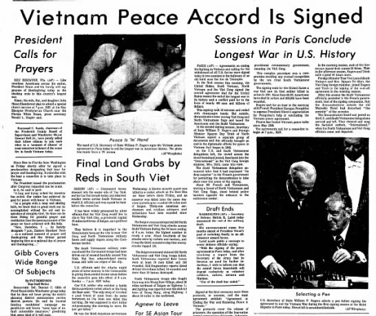 Signing of the Paris Peace Accords - Vietnam Peace Accord Is Signed President Calls...