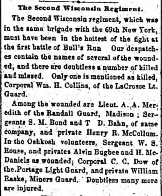 Private Henry R. McCollum wounded reported 25 Jul 1861
