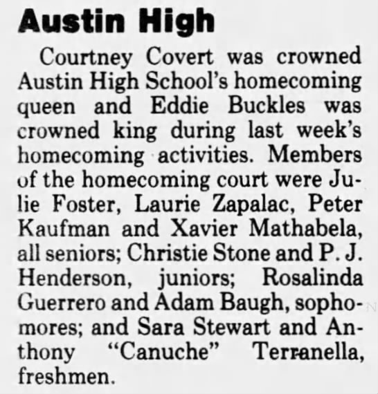 - Austin High Courtney Covert was crowned Austin...