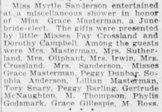 Winnipeg Tribune, 13 June 1922, The Social Side of Life. - Miss Mvrtle Sanderson entertained at a...