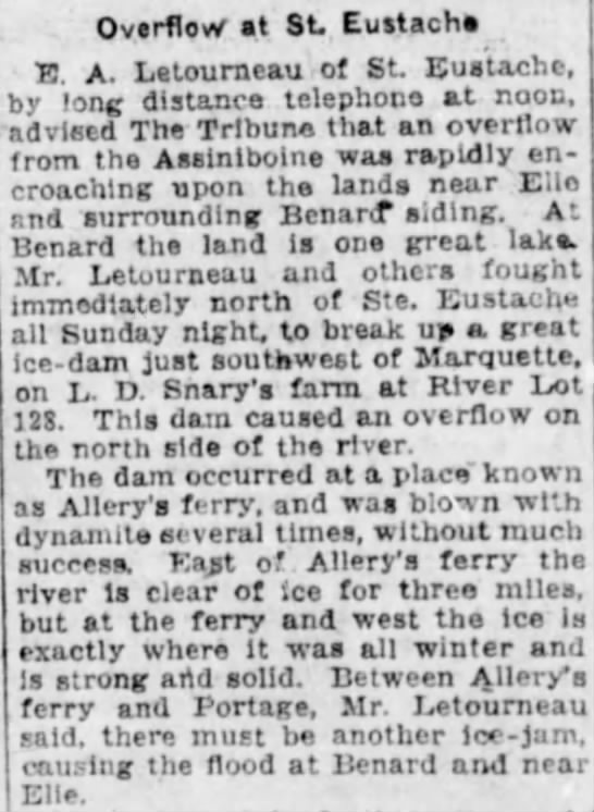 Winnipeg Tribune, 23 Apr 1923, Page 5, Farmers Blast Great Ice-Jams. - Overflow at St. Eustach H. A. Letourneau of St....