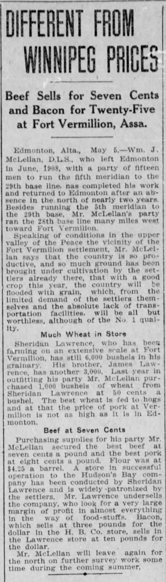 Winnipeg Tribune 1910.05.05 Sheridan Lawrence wheat - DIFFERENT F m WINNIPEG PRICES Beef Sells for...