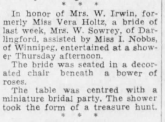 Winnipeg Free Press 26 Mar 1934 p.4 - In honor of Mrs. W. Irwin, formerly formerly...