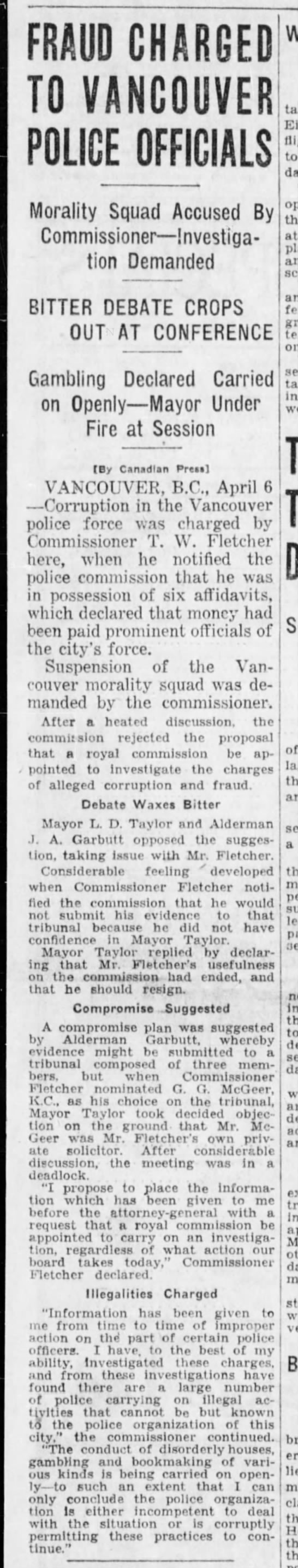 6 apr 1928 and start of Fletcher's campaign against police corruption - FRAUD CHARGED TO VANCOUVER POLICE OFFICIALS...
