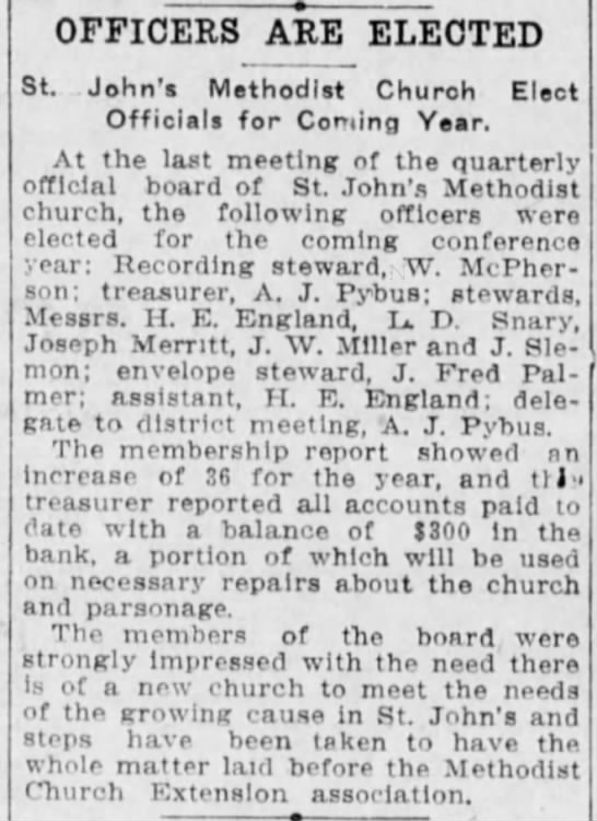 Winnipeg Tribune, 31 May 1911, Page 2. - OFFICERS ARE ELECTED St. John's Methodist...