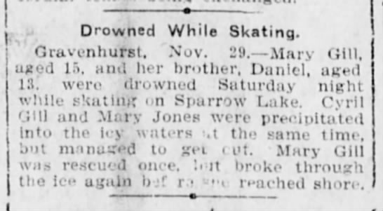Sparrow Lake News - Drowned While Skating. Gravenhurst. Nov. 29....