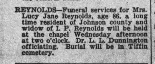 - REYNOLDS Funeral services tor Mrs. Lucy Jane...