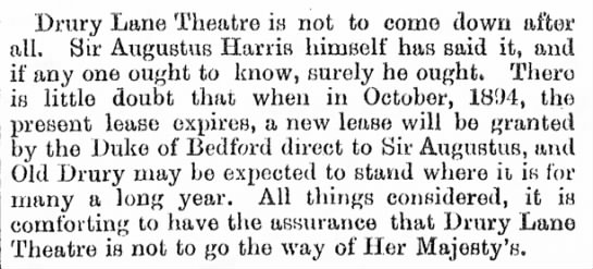 """Famous """"Drury Lane Theatre Is Not to Come Down After All"""""""