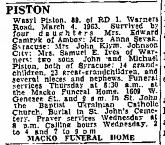 1963 Mar 6 Piston, Wasyl 