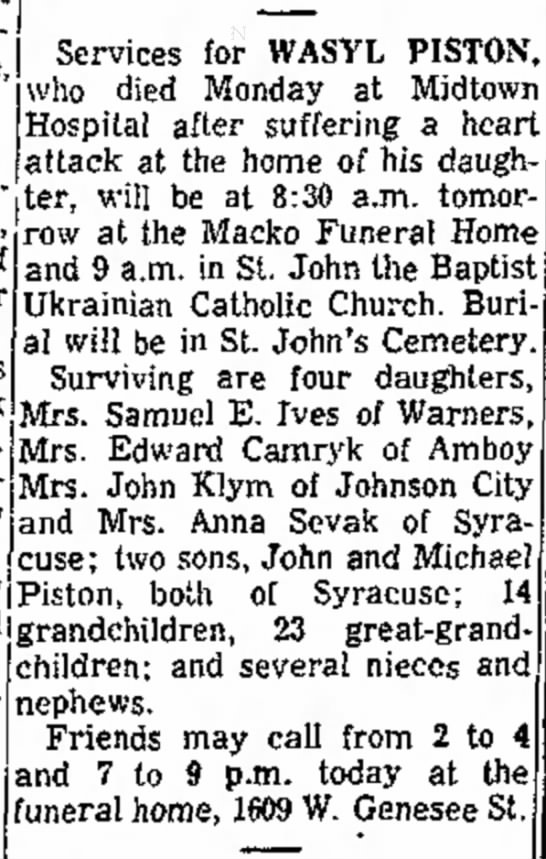1963 Mar 6 Piston, Wasyl Obituary funeral announcement