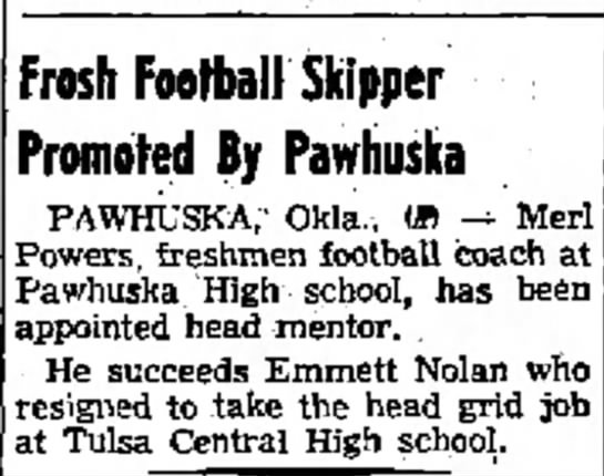 Top Nolan, 6 Apr 1956 - who Frosh Football Skipper 'romoted By Pawhuska...