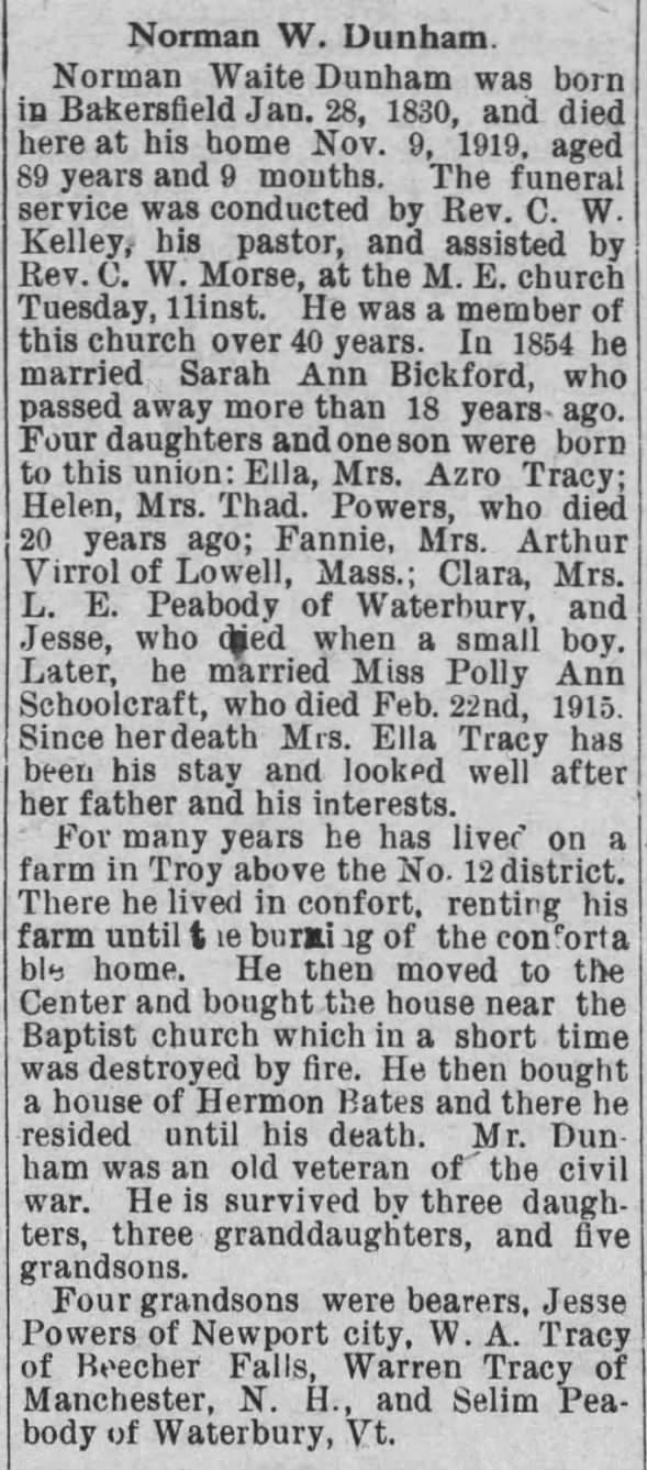 Obituary for Norman Waite Dunham, 1830-1919 (Aged 89)