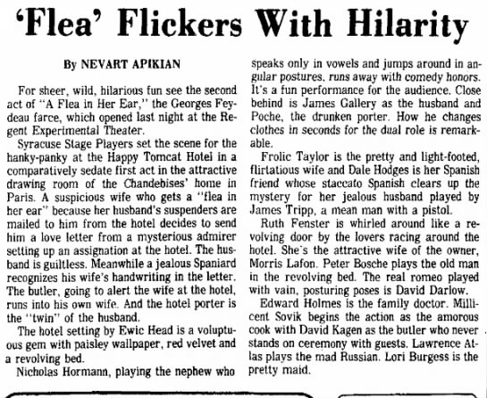 Syracuse NY Post Standard 13 March 1976 - 'Flea' Flickers With Hilarity speaks only in...