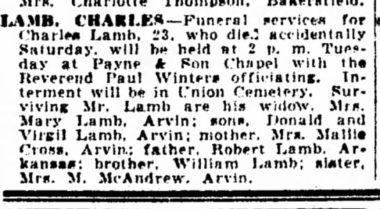 Charles W Lamb - I^AMB. CHARLEA—Funeral service* for CharlM!...