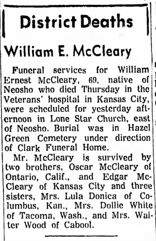 "Uncle Ernie's Obituary - District Deaths William E. McCleary "" ........."