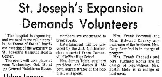 "St. Josephs article referring to nanny - St. Joseph's Expansion Demands Volunteers ""The..."