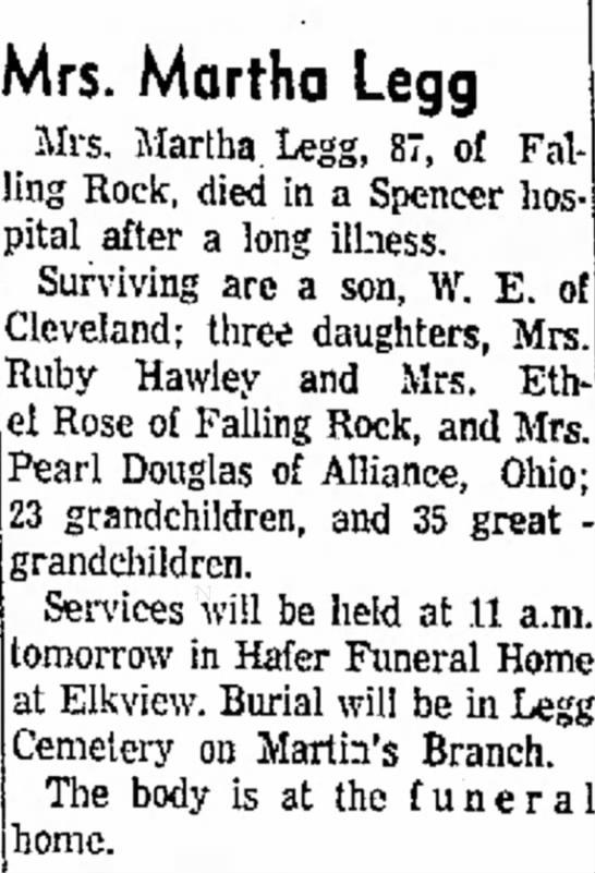 - Mrs. Martha Legg Mrs. Martha. Legg, 87, of Fal...