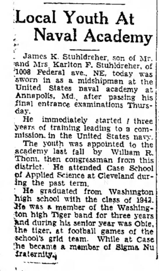 James K Stuhldreher was obie at Washingtion High School - Local Youth At ; Naval Academy 1 James K....