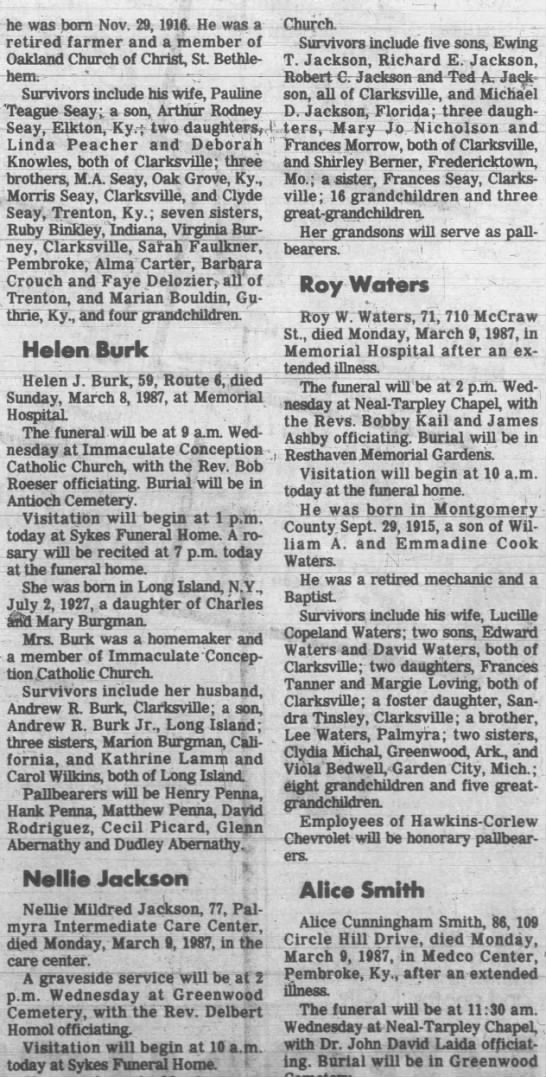 Nellie Mildred (Seay) Jackson Obituary The Clarksville, TN Leaf-Chronicle March 10, 1987 - he was born Nov. 29, 1916. He was a retired...