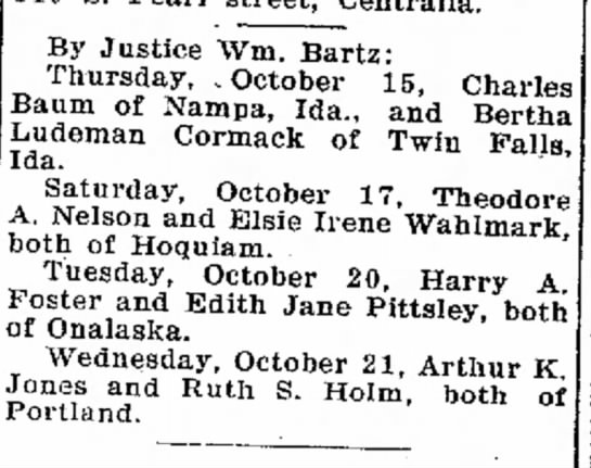 Aunt Irene's marriage to Ted Nelson - at May C married with beer By Justice Wm....