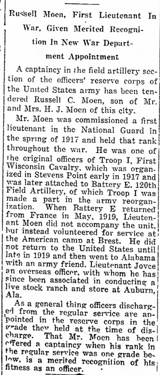 "Russell Moen - First Lieutenant In War, Given Merited Recognition In New War Dept. Appointment - ihron""h Sat- of bliy- the Honolulu. have..."