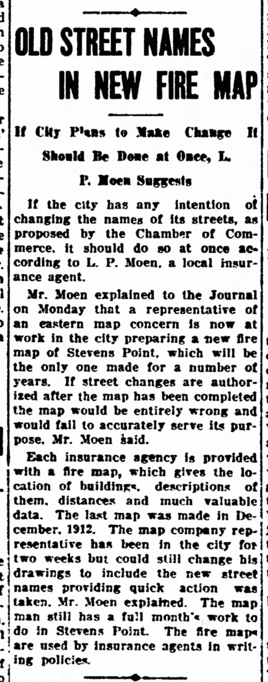 L. P. Moen - Old Street Names In New Fire Map - a to machine the senatorial place from well up...
