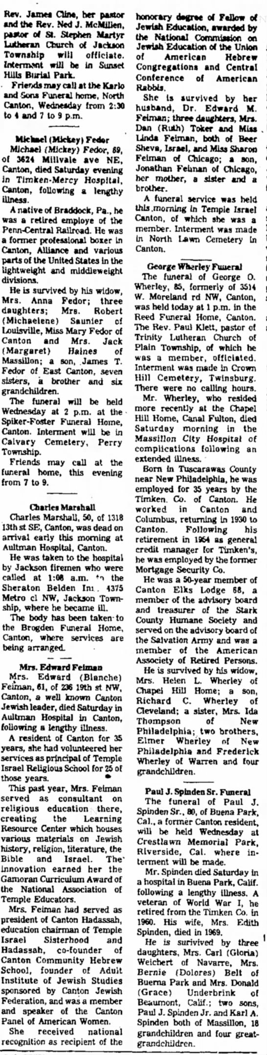 The Evening Independent - Massillon, 2 Sept 1075 p. 3, col 3-4 - Rev. James Cline, her pastor and the Rev. Ned...