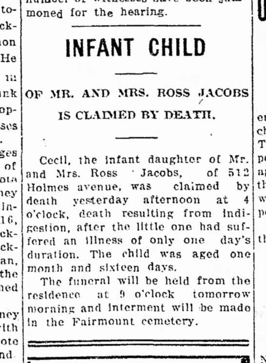 Lima News Thursday Dec 7 1911 infant son of Ross and Fern Jacobs dies. - today Jackman He in junk operating of 1911....