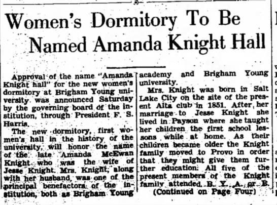 Amanda McEwan Knight Hall announced 11-06-1938 cont. pg 4 - Women's Dormitory To Be iNamed Amanda Knight...