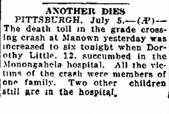 Death of Dorothy Little - o w e r s . . ANOTHER DIES PITTSBURGH, July...