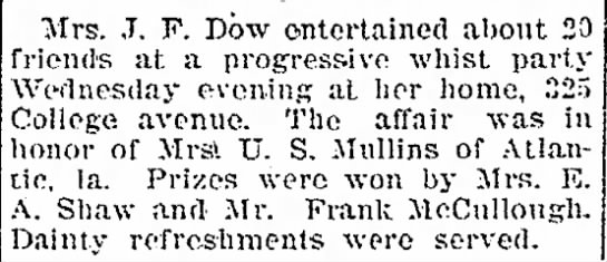 "- officiating the ""Mrs. J. F. Dow entertained..."