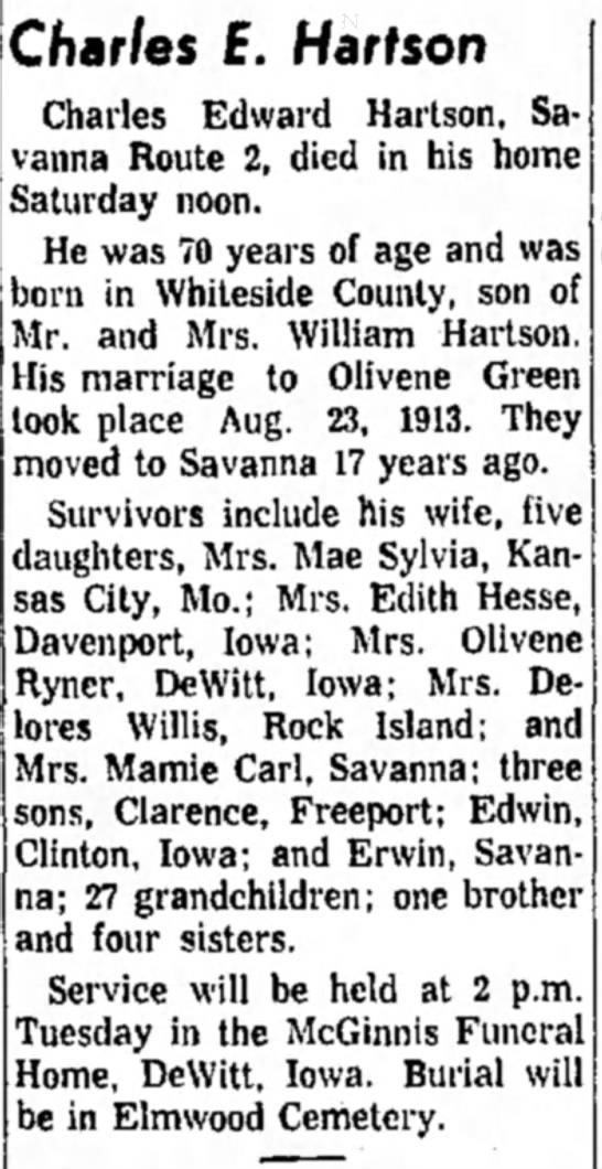 Great Granpa Hartson - Charles E. Hartson Charles Edward Hartson,...