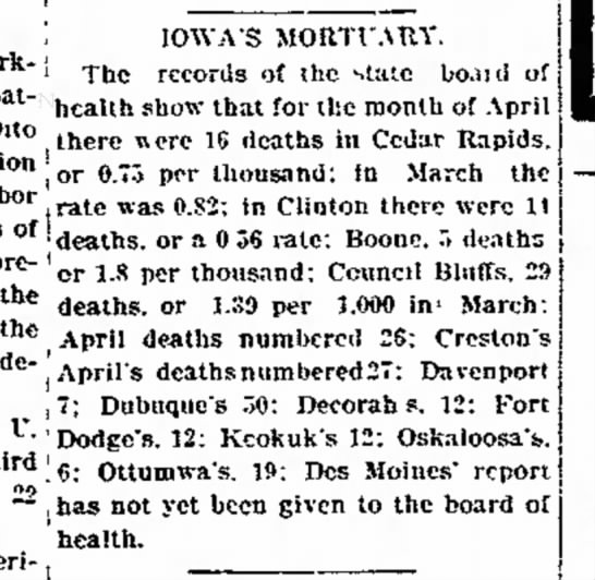 1896 Iowa's Mortuary - Labor IOWA'S MORTUARY. the Work- j Tfac...