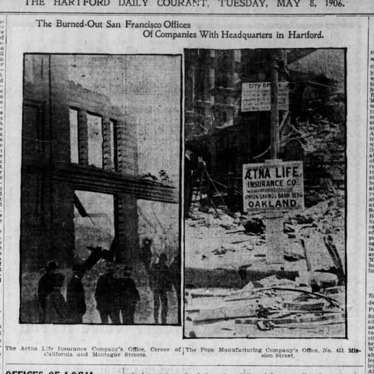 Destroyed businesses from 1906 earthquake and fire - DAILY COURANT, TUESDAY, MAY 8, 1906. The...