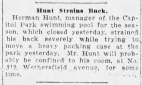 Hunt Strains Back - Hunt Strains Hark. Herman Hunt, manager of the...