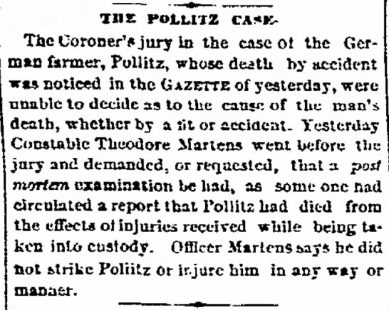 Henry Pollitz - The Davenport Daily Gazette 23 Sep 1870 - and comer of fu- the in Co. Hill the city- of...