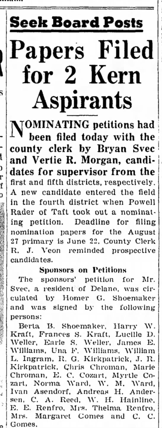 CHROMAN, Chris, Petition Signer, TBC 6/12/1940 - Seek Board Posts Papers Filed for 2 Kern...