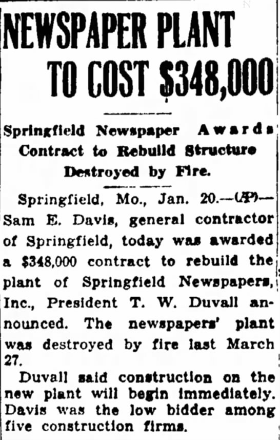 Joplin Globe, 1/21/48 - I 1 am NEWSPAPER PLANT TO COST 5348,000...
