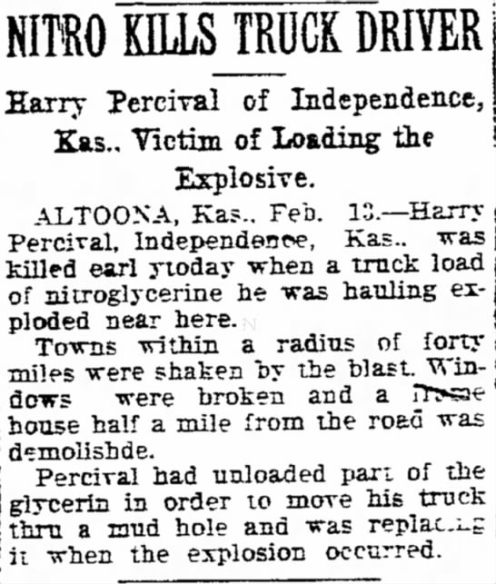 Percival, Harry of Independence, Ks 13 Feb 1924 - KILLS TRUCK DRIVER . , Harry Percrral of...
